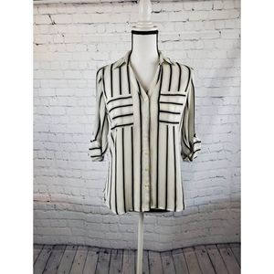 Express Black and White Striped Button Down